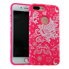 For iPhone 7+ Plus - HYBRID HARD & SOFT RUBBER ARMOR CASE COVER PINK ROSE LACE