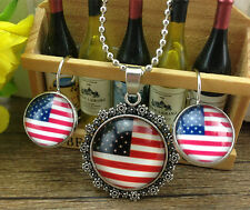 HOT Pretty Handmade Flag necklace+1 pair French Dangle Earrings