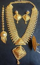 12'' Long 22K Gold Plated Fashion Necklace Earrings South Indian Wedding Set l