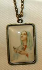 Lovely Brasstone Our Lady Mary Handmaiden Of The Lord Vessel Pendant Necklace