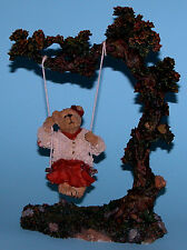 "Boyds Bears resin ""Audrey Fallsbeary..Quiet Time"" #228457 fall leaves, swinging"