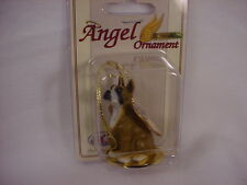 BOXER dog ANGEL Ornament Figurine RESIN Statue NEW Brown CROPPED puppy Christmas