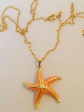 collier pendentif rétro couleur or pendentif étoile de mer solitaire cristal 255