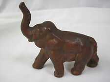 "Vintage Cast Iron Copper Colored Elephant with Trunk Up for Good Luck 4"" x 4"".nt"