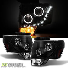 2009-10-11-12-13-2014 Ford F-150 Black DRL LED Projector Halo Headlamps L+R Set