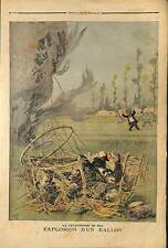 ACCIDENT MONGOLFIERE Toulet Delvaux Scheers -Dupuis Dusaulçoit 1895 ILLUSTRATION