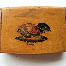 Vintage Wooden Match Box Holder Hinged Hand Painted Figure Man Cave Decor Rustic