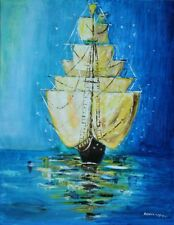 Colorful Blue & Yellow Painting, Contemporary Modern Art, Ship, Home Decor, Gift
