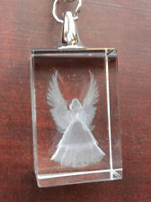 Guardian Angel 3D Laser Etched Crystal Key Ring / Keyring - in Gift Box - BNIB