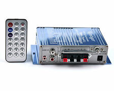 HiFi 2Ch Stereo Audio Amplifier AMP Home Car MP3 Ipod USB FM DVD CD Digital Blue