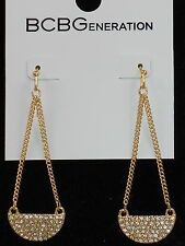 BCBG BCBGeneration Goldtone UNDER THE HALF MOON Pave' Chain Drop Earrings $18