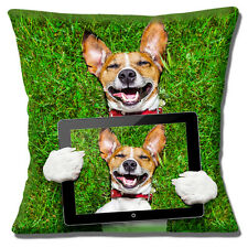 "LAUGHING JACK RUSSELL SMOOTH COAT TAN WHITE 'SELFIE' 16"" Pillow Cushion Cover"