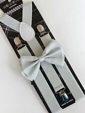 New Pearl Gray Bowtie and Suspender set Tuxedo Formal Men's Wedding USA SELLER