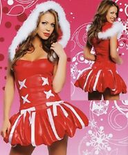 WOMENS RED XMAS CHRISTMAS SANTA LINGERIE COSTUME FANCY MINI DRESS SIZE 8 10 12