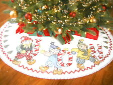 Stamped Cross Stitch Kit Joyous Elves Christmas Tree Skirt Started Herrschners