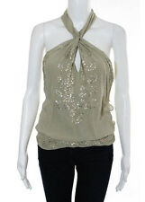 COLLETTE DINNIGAN Taupe Silk Gold Embellished Crossover Halter Top Blouse Sz XS