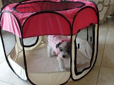 "33"". Pink  600D Oxford Portable Pet Puppy Soft Tent Playpen Dog Cat Crate Pet"
