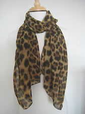 US Ship Beige Brown Leopard Cheetah Large Animal Print Scarf Wrap Poncho Shawl