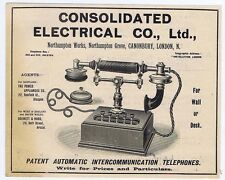 Consolidated Electrical Co Ltd; Telephone Makers - Antique Advert 1904