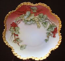 """ANTIQUE ROSENTHAL BAVARIA HAND PAINTED SIGNED PLATE, RED CURRANTS & GOLD, 10"""""""