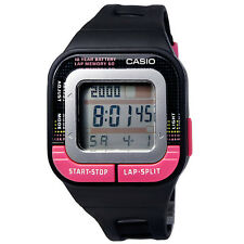 Casio SDB100-1B Ladies Black/Pink Running Pace 60-Lap Sports Watch 4 Alarms