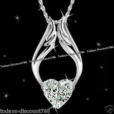 Unique Angel Heart Necklace Crystal Love Xmas Birthday Gift For Her Wife Women
