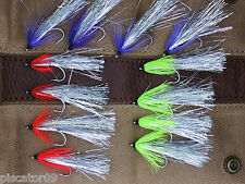 12 #2 Alaska Flash Flies for King Chinook Silver Coho Pink Salmon Steelhead D2