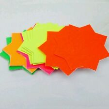 40 x neon Fluorescent Stars Flash Price Display Tags Flourescent Labels Shop10cm
