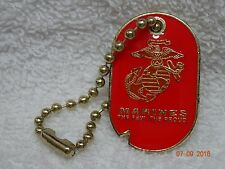US marine  Dog tag with key chain   Military Red     Very nice New!