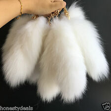 "White 20cm 8"" Genuine Nature Fox Tail Keychain Fur Tassel Bag Tag key Ring charm"