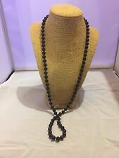 VTG. NAPIER SHINY JET BLACK LUCITE LONG BEADED NECKLACE~