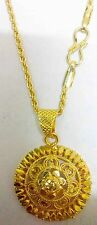 """18K 22K 23K 24K Beautiful Indian Gold Plated Pendant with 17"""" Necklace Chain"""