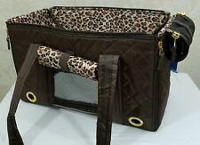 Sherpa Park Tote Pet Dog Cat Purse Carrier Brown Size small