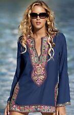 BOSTON PROPER Embroidered Beaded Boho Hippie Tunic Mini Top Dress Sz Small
