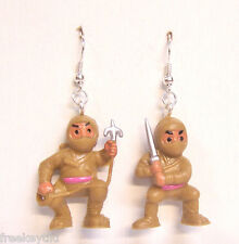 "NEW Brown Mini Ninjas Warriors Fighters Martial Artists Toys 1"" Dangle Earrings"