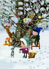 WINTER TIME: Girl Boy Fox Hare Deer Owl decorate tree Modern Russian card