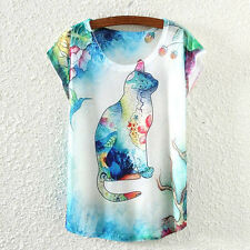 New Fashion Summer Women Short Sleeve Cat Animal Print T Shirt Tee Blouse Tops