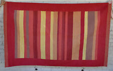 Wool Hand Knotted Reversible Rustic Kilim Modern Striped Area Rug Red Yellow