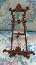 Ornate Cast Iron Easel Brick Painted Red Circa 1930s True Vintage