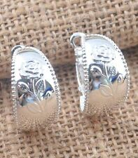 "New 925 Sterling Silver Plated Flower Embossed Wide Band 1"" Round Hoop Earrings"