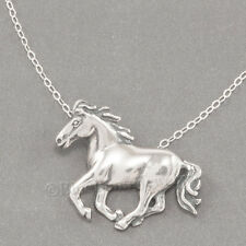 "RUNNING WILD HORSE Charm Mustang Animal Pendant STERLING SILVER 18"" Necklace 925"