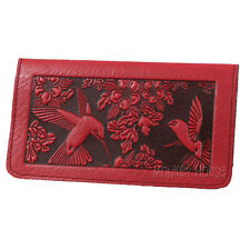 HUMMINGBIRD Oberon Design Leather CHECKBOOK COVER Red art-nouveau holder CKM10