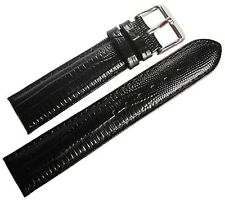 19mm deBeer Mens Black Teju Lizard-Grain Leather Watch Band Strap