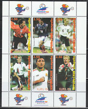 Souvenir sheet of 6 MNH stamps Famous football players soccer France 1998