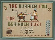 VINTAGE BUTCHER SHOP ART'S MEAT MARKET GROCERY THERMOMETER CALENDAR OVEN PICTURE