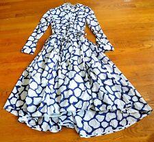 Diane von Furstenberg DVF Raven Shibori Giraffe Blue White Wrap Tie Dress US 4
