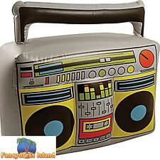 80s INFLATABLE BOOM BOX STEREO GHETTO BLASTER Mens Ladies Fancy Dress Accessory