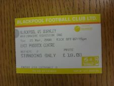 21/03/2000 Ticket: Blackpool v Burnley [Green]. This item has been inspected, an