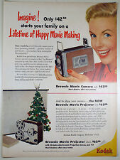 Vintage 1952 KODAK BROWNIE 8mm MOVIE CAMERA Full-Page Lg Magazine Print Ad