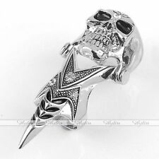 1PC Fashion Crystal Skull Demon Spike Punk Double Finger Ring Men's Cool Gothic